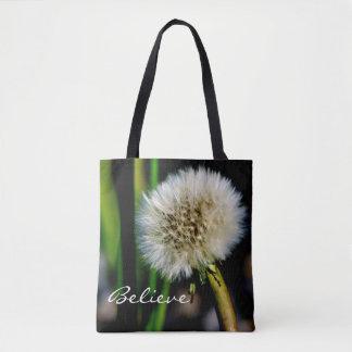 Make a Wish Personalized, Believe, Dandelion Tote Bag