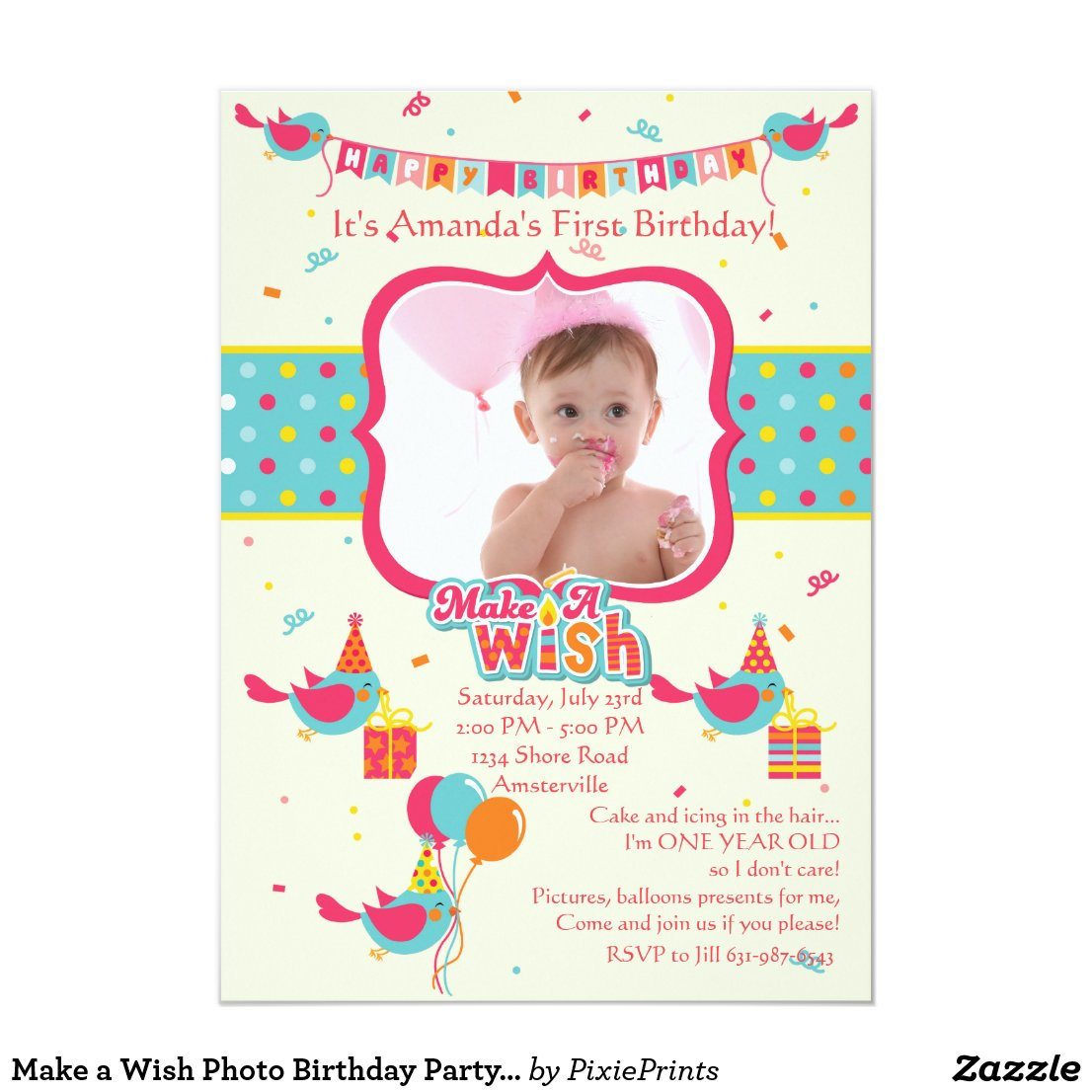 Make a Wish Photo Birthday Party Invitation