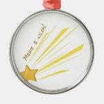 Make a Wish Round Metal Christmas Ornament