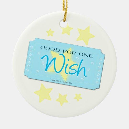 Make a Wish Ticket Ceramic Ornament