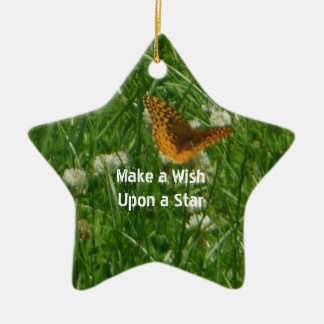 Make a Wish Upon a Star Butterfly Ceramic Ornament