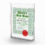 Make a World&#39;s Best Boss Certificate Award<br><div class='desc'>Create a World&#39;s Best Boss Certicate Acrylic Award. Give your boss this great world&#39;s best boss certificate award with fully customizable texts: &quot;World&#39;s&quot;, &quot;Best Boss&quot;, &quot;This is to certify that:&quot;, &quot;Your Boss&#39; Name&quot;, &quot;is the best boss in the world. We are blessed with a boss as inspiring and good as...</div>