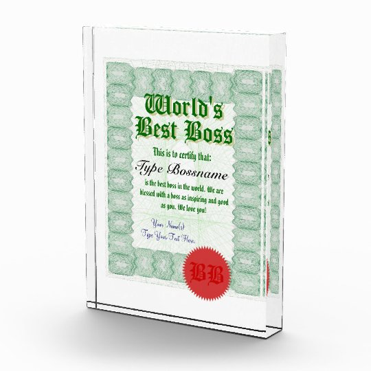make a world s best boss certificate award zazzle com