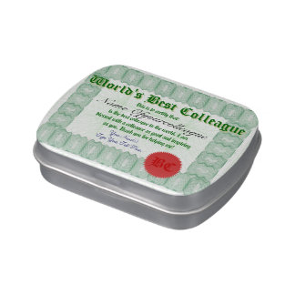 Make a World's Best Colleague Certificate Jelly Belly Tins