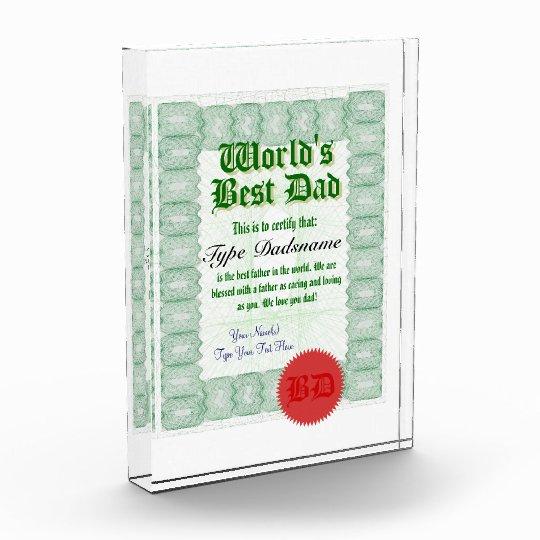 make a world s best dad certificate award zazzle com