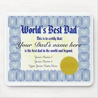 Make a World's Best Dad Certificate Mousepad