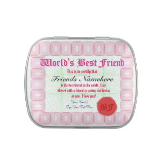 Make a World's Best Friend Certificate Jelly Belly Candy Tin