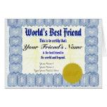 Make a World's Best Friend Certificate Gift Card