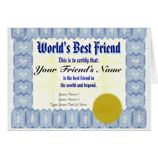 Make a World's Best Friend Certificate Gift Card