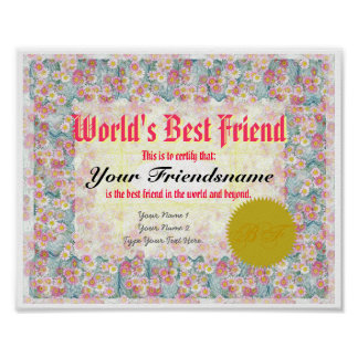 Make a World's Best Friend Certificate Print