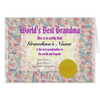 Make a World's Best Grandma Award Certificate Card