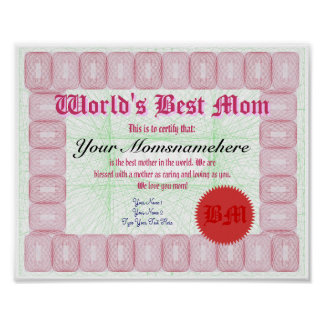 Make a World's Best Mom Award Certificate Poster