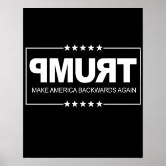 Make America Backwards Again - Anti-Trump Sign --  Poster
