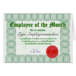 Make an Employee of the Month Certicate Award Cards