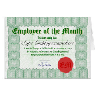 Make an Employee of the Month Certicate Award Greeting Card