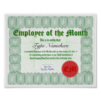Make an Employee of the Month Certicate Award Posters