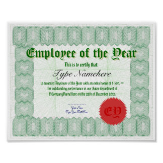 Make an Employee of the Year Certicate Award Poster