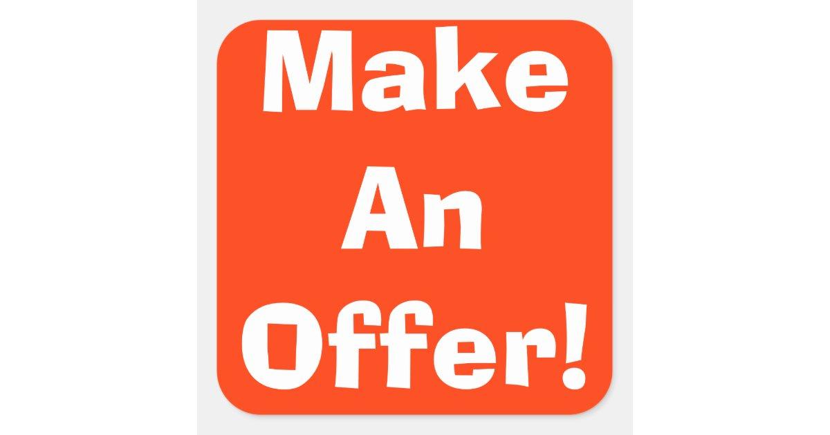 Make An Offer Garage Sale Stickers Zazzle Com
