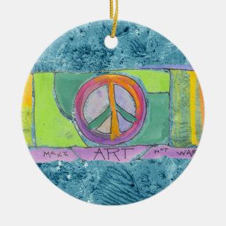 Make Art, Not War Watercolor Painting Christmas Ornament
