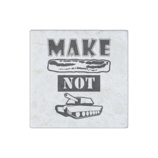 Make Bacon Not War! Stone Magnet