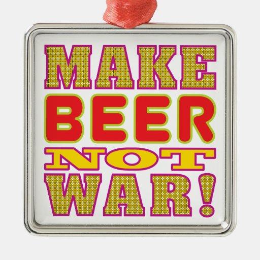Make Beer Square Metal Christmas Ornament