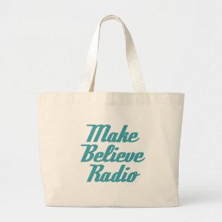 Make Believe Radio Aqua Lettering Tote Bag