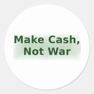 Make Cash, Not War - 2 Classic Round Sticker
