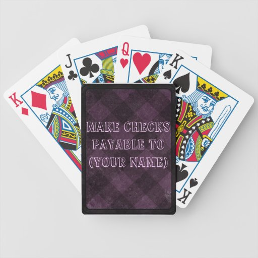 Make Check Payable To- Pink Checkered Bicycle Playing Cards