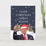 "Make Christmas Great Again Holiday Card<br><div class=""desc"">Make their day this Holiday Season by send this Santa Trump Christmas Card to all your Conservative / Deplorable friends! President Trump is getting into the Christmas spirit, sporting a jaunty Santa Hat with a sprig of holly, a couple of candy canes in his jacket pocket, standing in front of...</div>"