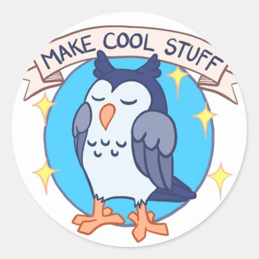 Make Cool Stuff Owl Emblem Round Stickers Zazzle