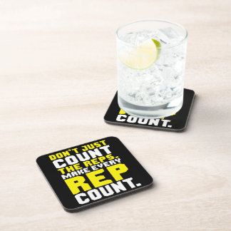 Make Every Rep Count - Workout Motivational Beverage Coaster