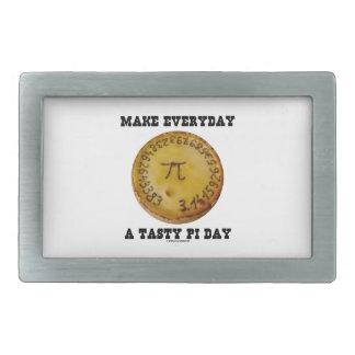 Make Everyday A Tasty Pi Day (Pi On Baked Pie) Rectangular Belt Buckle