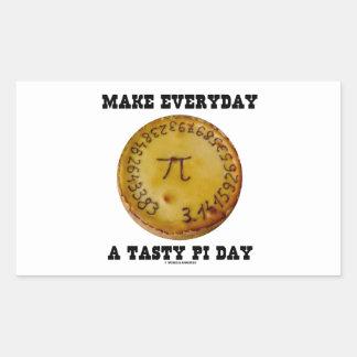Make Everyday A Tasty Pi Day (Pi On Baked Pie) Rectangular Sticker