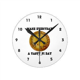 Make Everyday A Tasty Pi Day (Pi On Baked Pie) Round Wallclocks