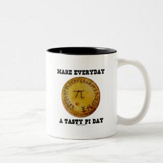 Make Everyday A Tasty Pi Day (Pi On Baked Pie) Two-Tone Coffee Mug