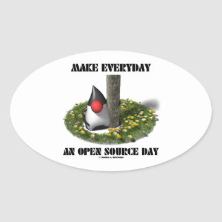 Make Everyday An Open Source Day (Java Duke) Oval Sticker