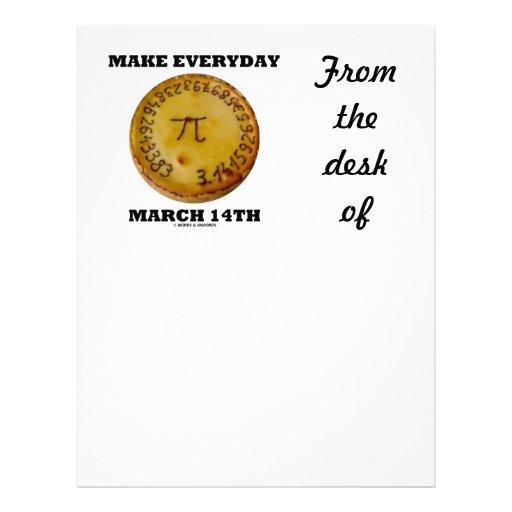 make everyday march 14th math pi pie humor letterhead template