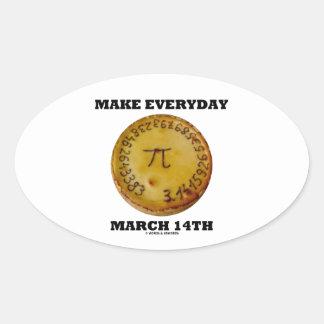 Make Everyday March 14th (Math Pi Pie Humor) Oval Sticker