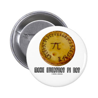 Make Everyday Pi Day (Mathematics Pi / Pie Humor) Button