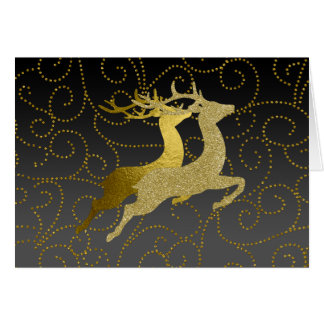 Make Gray Any Color Ombre Gold Reindeer Holiday Card