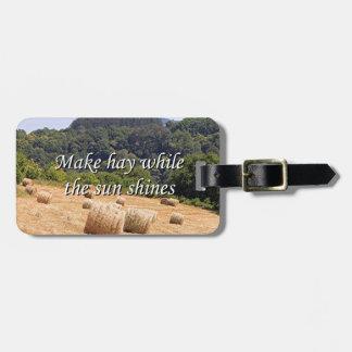 Make hay while the sun shines hay bales,Spain Bag Tag
