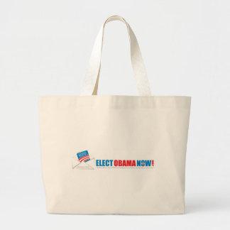 Make history Elect Obama Now. Large Tote Bag