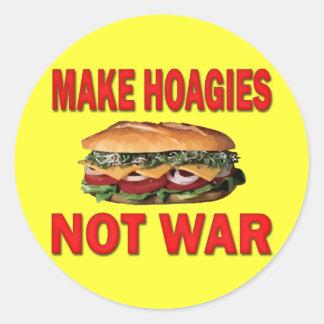 MAKE HOAGIES NOT WAR CLASSIC ROUND STICKER