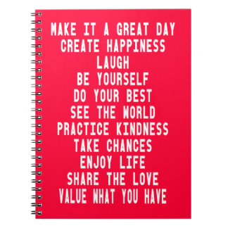 Make It A Great Day Graphic Design By Artinspired Spiral Notebook