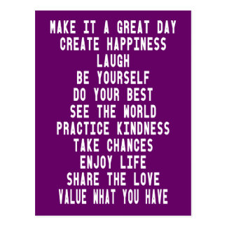 Make It A Great Day Graphic Inspirational Quotes Postcard