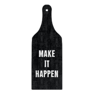 Make It Happen Black and White Cutting Board