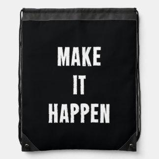 Make It Happen Black and White Drawstring Bag