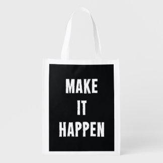 Make It Happen Motivational Black Grocery Bag