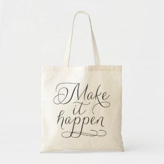 Make it Happen - Script Typography Tote Bag