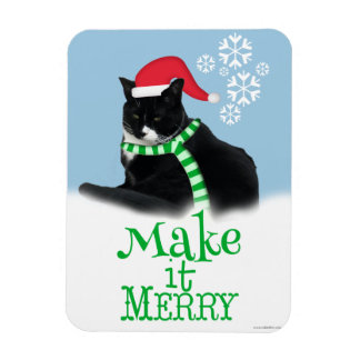 Make it Merry Holiday Tuxedo Cat Magnet